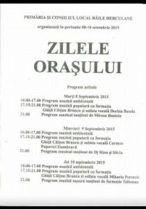 Program Zilele Orasului Baile Herculane